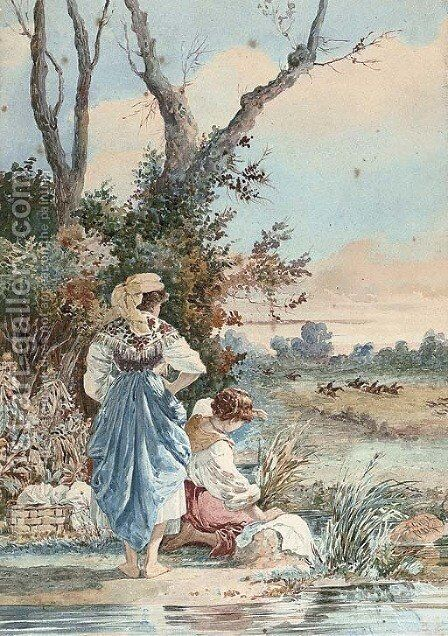 Watching the hunt go by by Belisario Gioja - Reproduction Oil Painting