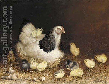 Hen and Chicks in the Hay by Ben Austrian - Reproduction Oil Painting