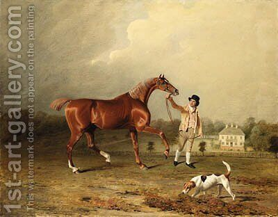 Charles Arnott's Chestnut Hunter Held by a Groom in an Extensive Landscape, with Rushington Manor Beyond by Ben Marshall - Reproduction Oil Painting