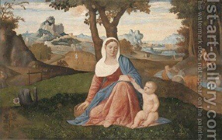The Rest on the Flight into Egypt with the Penitent Saint Jerome in a wooded river landscape, Saint Antony Abbot and the Predication of the Baptist by Benedetto Diana - Reproduction Oil Painting