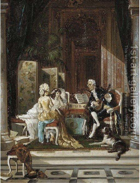 The serenade by Benjamin Eugene Fichel - Reproduction Oil Painting
