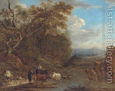 A drover with cattle watering by Benjamin Barker Of Bath - Reproduction Oil Painting