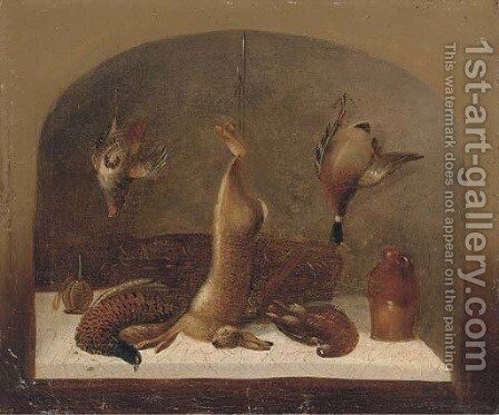 A kitchen still life within a feigned niche by Benjamin Blake - Reproduction Oil Painting