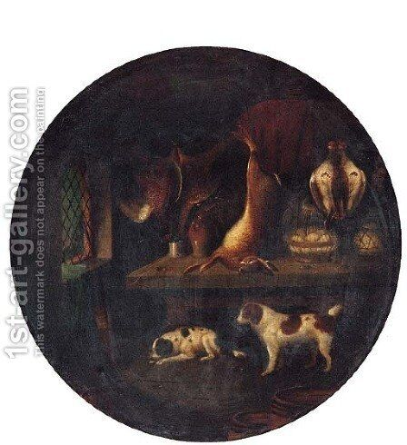 Spaniels with dead Game in a Larder by Benjamin Blake - Reproduction Oil Painting