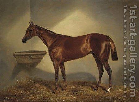 A chestnut racehorse in a stable by Benjamin Cam Norton - Reproduction Oil Painting