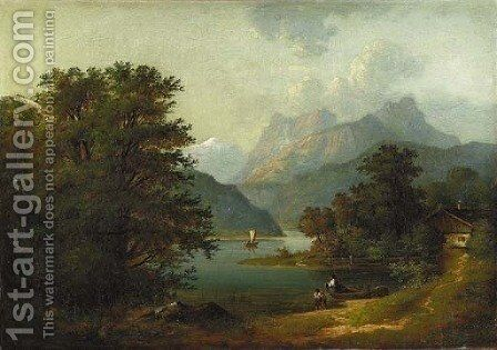 Figures by a Cabin in a Mountainous River Landscape by Benjamin Champney - Reproduction Oil Painting