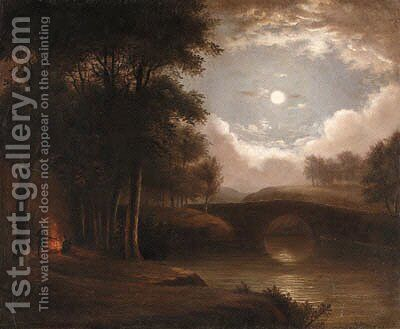 Moonlight Landscape with Campfire by Benjamin Champney - Reproduction Oil Painting