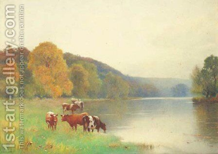 Cattle watering at the edge of a lake by Benjamin D. Sigmund - Reproduction Oil Painting