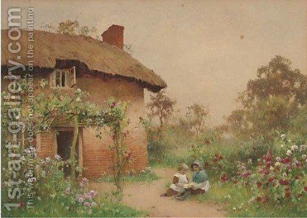 Children playing before a cottage by Benjamin D. Sigmund - Reproduction Oil Painting