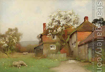 Sheep Grazing by a Cottage by Benjamin D. Sigmund - Reproduction Oil Painting
