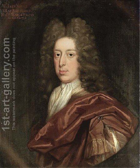 Portrait of the Hon. Harie Maule, bust-length, in a brown cloak and white stock, feigned oval by Benjamin Ferrers - Reproduction Oil Painting