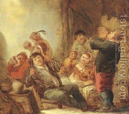 Boors drinking and smoking in a barn by Benjamin Gerritsz. Cuyp - Reproduction Oil Painting
