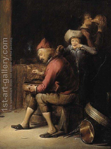 The sense of Smell A boy mocking an old man by Benjamin Gerritsz. Cuyp - Reproduction Oil Painting