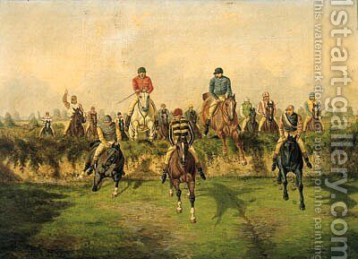 The Steeplechase by Benjamin Herring, Jnr. - Reproduction Oil Painting