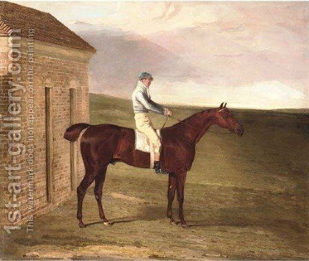 Burleigh, a chestnut racehorse, with Sam Chifney up, at Newmarket by Benjamin Marshall - Reproduction Oil Painting