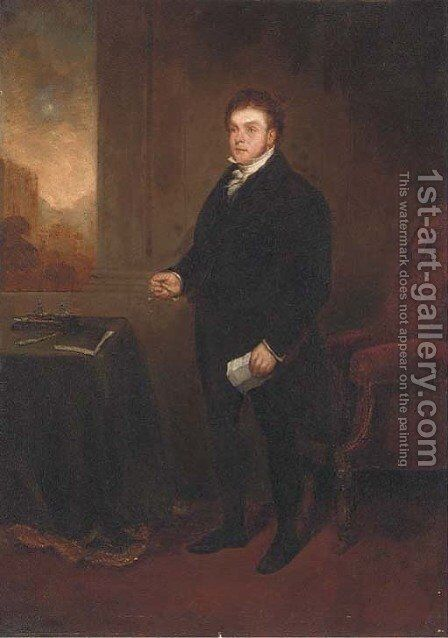 Portrait of Robert Hawkes (1774-1836), small full-length, holding a letter and spectacles, in an interior, a landscape beyond by Benjamin Robert Haydon - Reproduction Oil Painting