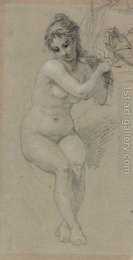 Seated Nude by Benjamin West - Reproduction Oil Painting