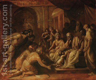 Study for Pyrrhus when a child brought before Glaucias by Benjamin West - Reproduction Oil Painting