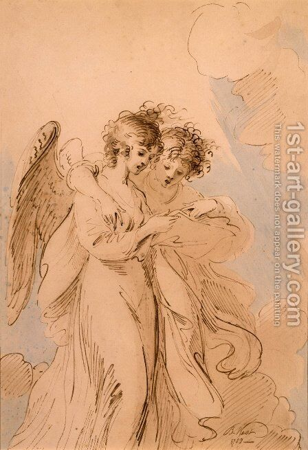 Two Angels singing by Benjamin West - Reproduction Oil Painting