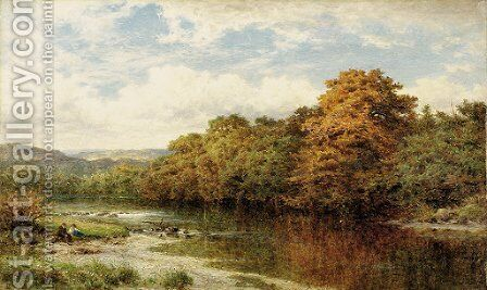 Coming autumn on Welsh river by Benjamin Williams Leader - Reproduction Oil Painting