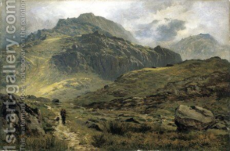 The path to Llyn Idwal, North Wales by Benjamin Williams Leader - Reproduction Oil Painting