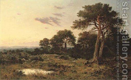 Evening on the Surrey Wolds by Benjamin Williams Leader - Reproduction Oil Painting