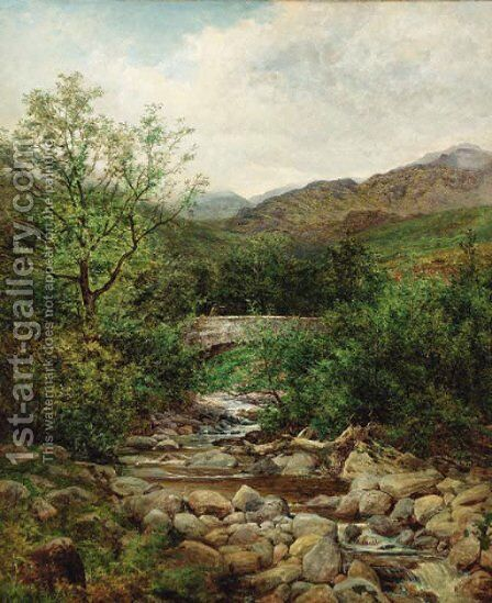 A bridge over a mountain stream, North Wales by Benjamin Williams Leader - Reproduction Oil Painting
