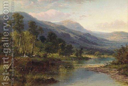 A quiet pool on the Llugwy, Wales by Benjamin Williams Leader - Reproduction Oil Painting