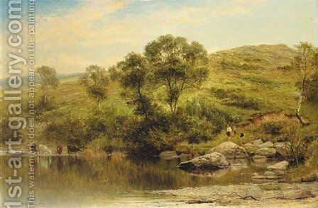 A quiet pool on the river Llugy, near Capel Curig by Benjamin Williams Leader - Reproduction Oil Painting