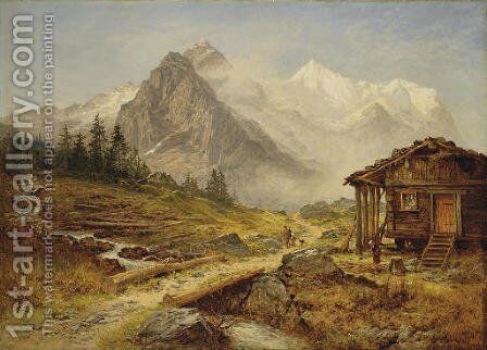 Alpine Landscape by Benjamin Williams Leader - Reproduction Oil Painting