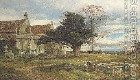 An English Country churchyard Autumn by Benjamin Williams Leader - Reproduction Oil Painting