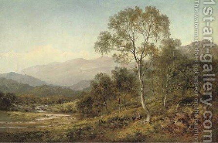 Birch trees on the hillside below Capel Curig by Benjamin Williams Leader - Reproduction Oil Painting