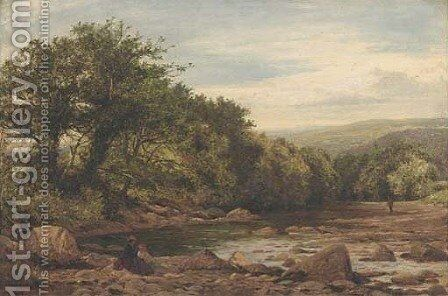 Figures by a river, thought to be Llugwy, North Wales by Benjamin Williams Leader - Reproduction Oil Painting
