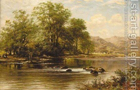 Figures in a sunlit river landscape with mountains beyond by Benjamin Williams Leader - Reproduction Oil Painting