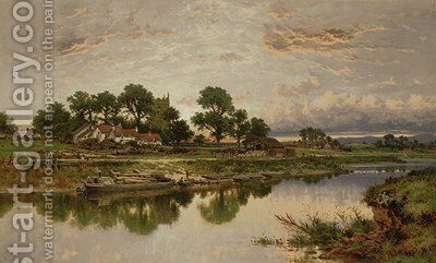 Kempsey Church on the River Severn by Benjamin Williams Leader - Reproduction Oil Painting