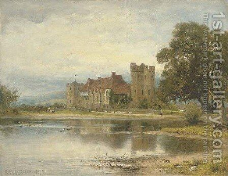 Stokesay Castle, Shropshire by Benjamin Williams Leader - Reproduction Oil Painting