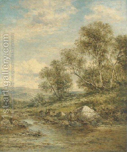 Stream from the Hills, North Wales by Benjamin Williams Leader - Reproduction Oil Painting