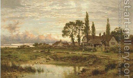 The Outskirts of a Worcestershire Common, clearing up after rain, Evening by Benjamin Williams Leader - Reproduction Oil Painting
