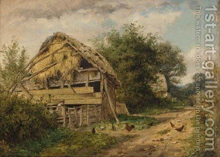 The Roadside Shed by Benjamin Williams Leader - Reproduction Oil Painting