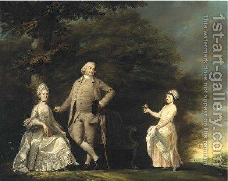 Group portrait of the Hussey family, small full-length, in the garden of Wargrave Hill House, Berkshire by Benjamin Wilson - Reproduction Oil Painting