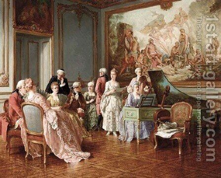 The Music Concert by Benjamin Eugene Fichel - Reproduction Oil Painting