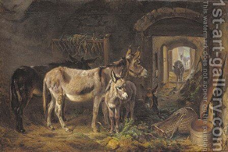 Donkeys in a stable interior by Benno Adam - Reproduction Oil Painting
