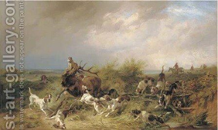 A stag hunt in a coastal landscape by Benno Adam - Reproduction Oil Painting