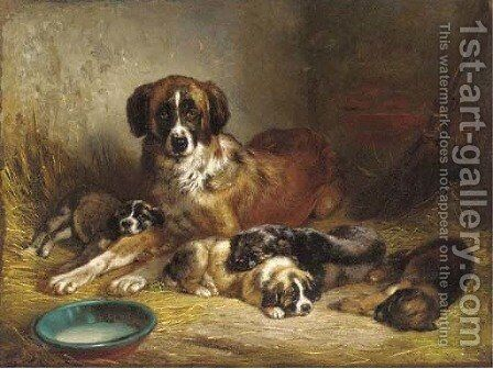 A St. Bernard with it's litter by Benno Adam - Reproduction Oil Painting