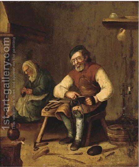A cobbler in an interior by Berlin School - Reproduction Oil Painting