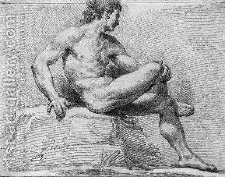 A nude seated on a rock in profile to the right by Bernard Picart - Reproduction Oil Painting