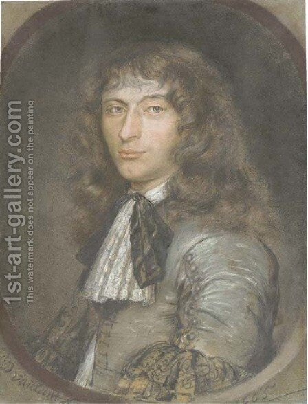 Portrait of a young gentleman, half-length, in a grey costume with lace jabot and black ribbon, in a feigned oval by Bernard Vaillant - Reproduction Oil Painting