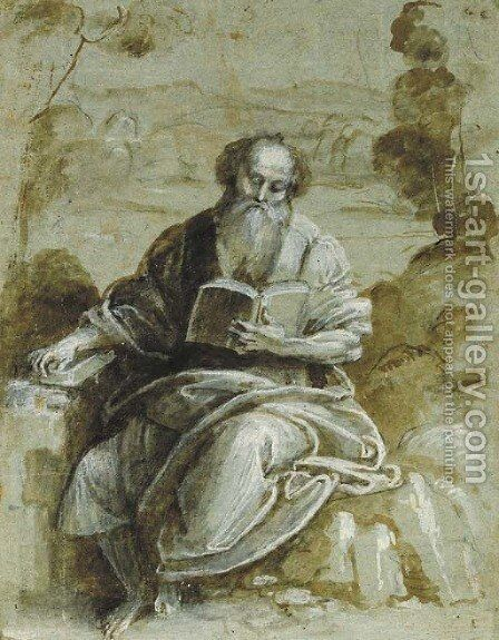 An Evangelist seated in a wooded landscape by Bernardino Lanino - Reproduction Oil Painting