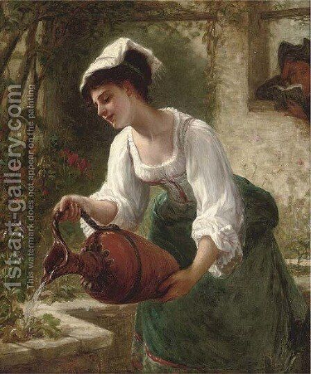 Watering the summer blooms by Bernardo Amiconi - Reproduction Oil Painting