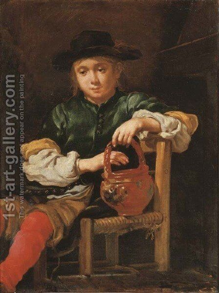 A boy seated holding a red pot with his left hand by Bernardo Keilhau - Reproduction Oil Painting